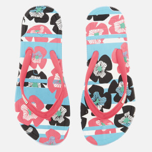Hunter Women's Original Floral Stripe Printed Flip Flops - Floral Stripe/Peony