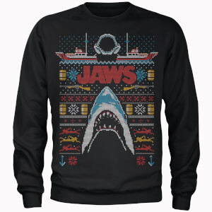 Jaws Fairisle Men's Christmas Sweatshirt - Black