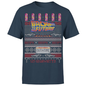 Back To The Future OUTATIME Men's Christmas T-Shirt - Navy