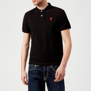 AMI Men's Heart Logo Polo Shirt - Black