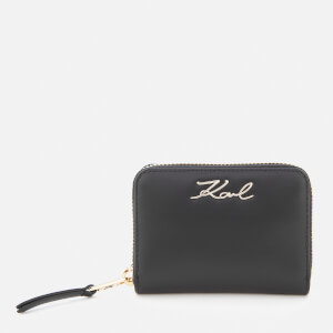 Karl Lagerfeld Women's K/Signature Small Zip Wallet - Black