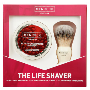 Men Rock The Life Shaver (Black Pomegranate Shave Cream, The Brush) krem do golenia z czarnym granatem, pędzel do golenia