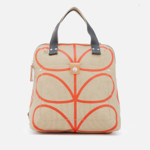 Orla Kiely Women's Matt Laminated Giant Linear Stem Small Backpack Tote - Stone