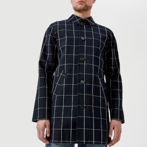 A.P.C. Men's Astaire Checked Mac - Dark Navy