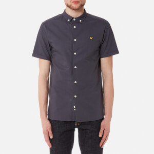 Lyle & Scott Men's Short Sleeve Garment Dye Oxford Shirt - Washed Grey