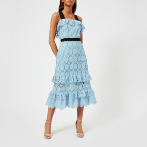 Perseverance London Women's Clover Embellished Anglaise Ruffled Midi Dress - Pale Blue