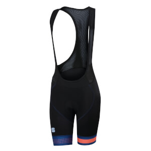 Sportful Women's BodyFit Pro Bib Shorts - Black/Twilight Blue/Coral Fluo