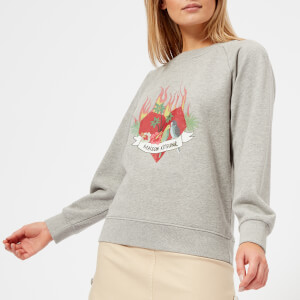 Maison Kitsuné Women's Burning Heart Sweatshirt - Grey