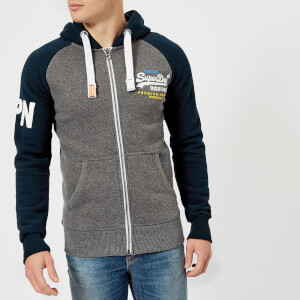 Superdry Men's Premium Goods Raglan Zip Hoody - Three Pointer Navy