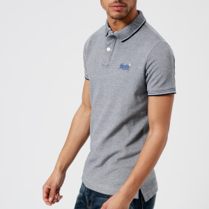 Superdry Men's Classic Poolside Short Sleeve Pique Polo Shirt - Navy/White