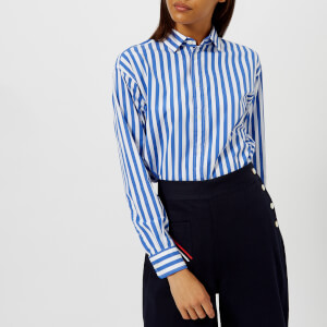 Polo Ralph Lauren Women's Ramsey Stripe Shirt with Tie Front - Blue/White