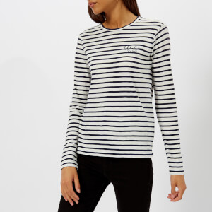 Polo Ralph Lauren Women's Stripe Logo Long Sleeve Top - Navy