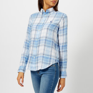 Polo Ralph Lauren Women's Logo Checked Linen Shirt - Blue/White