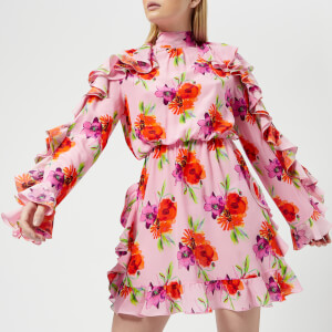 MSGM Women's Frill Detail Mini Dress - Pink
