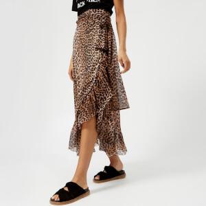 Ganni Women's Tilden Mesh Skirt - Leopard