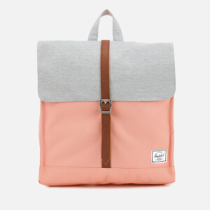 Herschel Supply Co. Women's City Mid-Volume Backpack - Peach/Light Grey Crosshatch/Tan Synthetic Leather