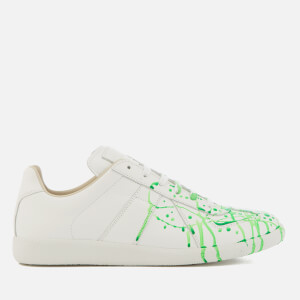 Maison Margiela Men's Paint Splash Replica Sneakers - White/Green Fluo Painter/White Sole