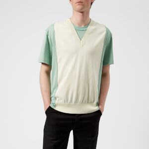 Maison Margiela Men's V Neck 2 Layer T-Shirt - Off White