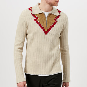 Maison Margiela Men's Jacquard V Neck Jumper - Sable/Brown/Yellow