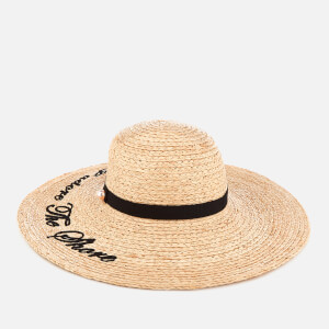 Ted Baker Women's Albizia Script Embroidered Floppy Hat - Straw