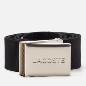 Lacoste Men's Textile Signature Croc Logo Belt - Noir