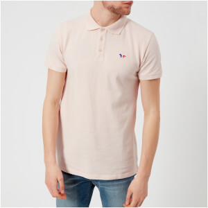 Maison Kitsuné Men's Tricolor Fox Patch Polo Shirt - Pink