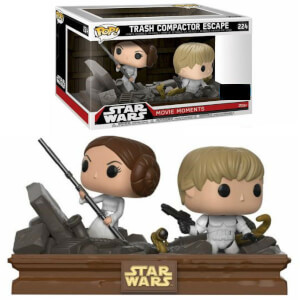 Lot de 2 Figurines Pop! EXC Luke & Leia Compacteur d'Ordures - Star Wars Movie Moments