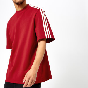 Y-3 Men's 3 Stripe Short Sleeve Sweatshirt - Chili Pepper Undyed