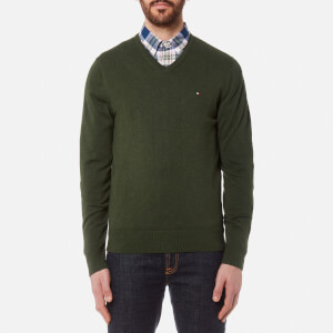 Tommy Hilfiger Men's Plaited Cotton/Silk V-Neck Knit Sweater - Deep Depths Heather