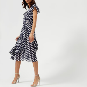 MICHAEL MICHAEL KORS Women's Simple Dot Wrap Dress - True Navy/White