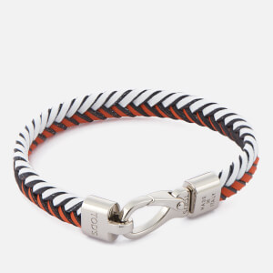Tod's Men's Leather Pleated Bracelet - Orange