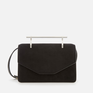 M2Malletier Women's Indre Single Hardware Bag with Chain Handle - Black Suede/Single Silver