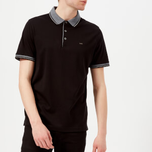 Michael Kors Men's Greenwich Logo Jacquard Short Sleeve Polo Shirt - Black