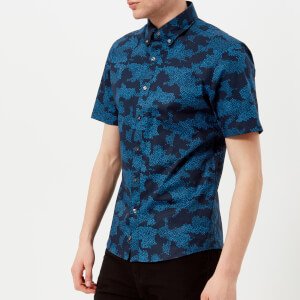 Michael Kors Men's Trim Stretch Digi Camo Short Sleeve Shirt - Midnight