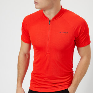 adidas Terrex Men's 1/2 Zip T-Shirt - High Res Red