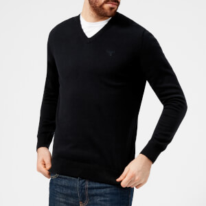 Barbour Men's Pima Cotton V-Neck Knitted Jumper - Navy