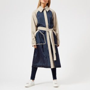 T by Alexander Wang Women's Chino Mixed Media Trench Coat - Canvas/Stripe Combo