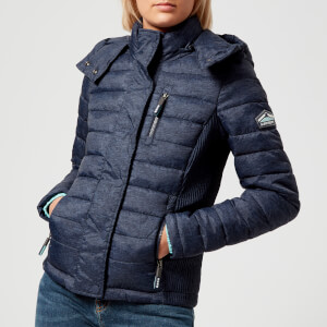 Superdry Women's Fuji Slim Double Zip Hood Coat - Ultramarine Navy Slub