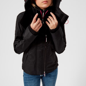 Superdry Women's Tech Hood Pop Zip Windcheater - Black/Raspberry