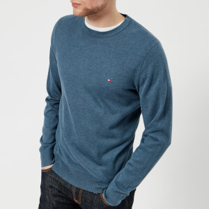 Tommy Hilfiger Men's Cotton Silk Crew Neck Knitted Jumper - Dark Denim Heather