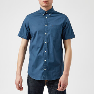 Tommy Hilfiger Men's Stretch Poplin Short Sleeve Shirt - Dark Denim
