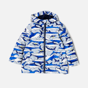 Joules Boys' Skipper Waterproof Coat - Shark Dive Stripe