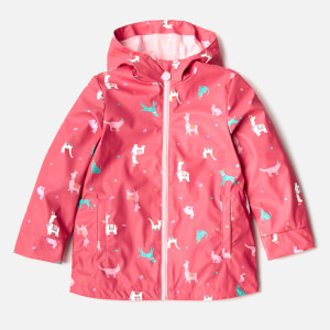 Joules Girls' Raindance Waterproof Coat - Bright Pink Festival