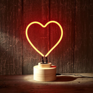 Lumosnap Red Neon Heart Table Lamp