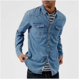 Tommy Jeans Men's Denim Shirt - Mid Indigo