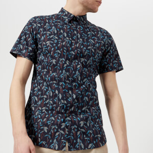PS by Paul Smith Men's Slim Fit Leaf Print Short Sleeve Shirt - Multi