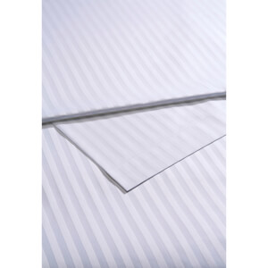 Christy 300TC Sateen Stripe Flat Sheets - White