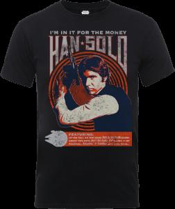 "Camiseta Star Wars Han Solo ""Póster Retro"" - Hombre - Negro"