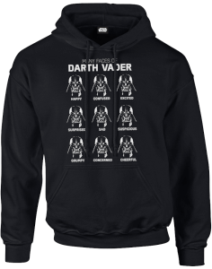 Felpa con cappuccio Star Wars Many Faces Of Darth Vader Pullover- Nero