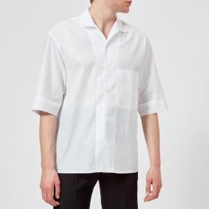Lemaire Men's Convertible Collar Short Sleeve Shirt - White